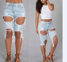 Plus Size Women S Lounge Dresses Fashion Pants, Girl Fashion, Fashion Outfits, Fashion Trends, Short Jeans, Plus Size Jeans, Denim Shorts Style, Casual Shorts, Knee Length Shorts