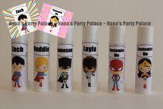 Superhero Party Favors  Superhero Theme  by NanasPartyPalace, $12.00 for 6 lip balms