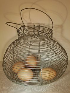 Vintage wire egg basket (found one just like this at a garage sale, so fun!)