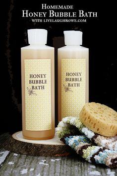 Homemade Honey Bubble Bath. A great gift idea! Find out how to make your own with livelaughrowe.com