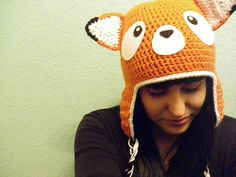 Crochet Fox Hat with Ear Flaps - Adult Size. $30.00, via Etsy.