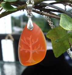 Tree of Life - Natures Mother necklace - engraved Ocean beach Sea Glass pendant - choose your color