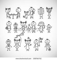 Set of cute doodle children. Vacation, summer.