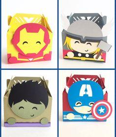 Avengers favor boxes Set of 12 Iron Man Hulk Thor por pinkskyshop