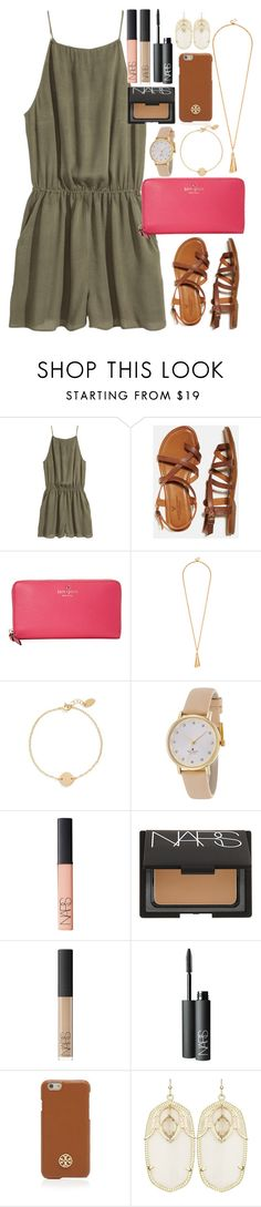 """Romper"" by lauren-hailey ❤ liked on Polyvore featuring H&M, American Eagle Outfitters, Kate Spade, Nashelle, NARS Cosmetics, Tory Burch and Kendra Scott"