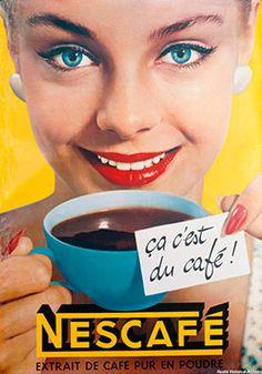 "livingnowisliving: "" IKer Torres saved to Publi c i t y v i n t a G E Vintage Nestlé ad "" Coffee Advertising, Retro Advertising, Retro Ads, Vintage Advertisements, Café Vintage, Vintage Coffee, Vintage Labels, Vintage Posters, Propaganda Coca Cola"