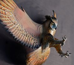Owl Wood Sculpture Attacking Pose Jason Tennant by jasontennant