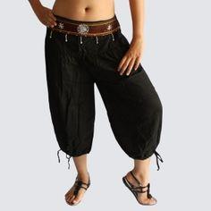 Black Oriental Decorated Harem Pants - Yoga Pants - Model P56 - Oriental Fashion #http://www.pinterest.com/OGfashion/