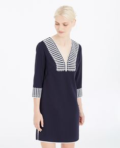 25910afd6bc1 Ann taylor Petite Embroidered Tunic Dress in Blue