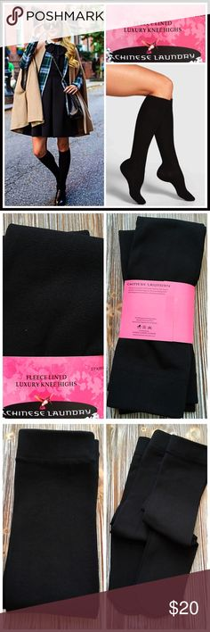 2 Pairs Fleece Lined BOOT SOCKS 💟NEW WITH TAGS💟  CHINESE LAUNDRY Fleece Lined BOOT SOCKS Knee Highs  2 PAIRS INCLUDED  * Super soft, high quality fleece lined fabric  * Stretch-to-fit construction w/solid cuffs  * Knee length on most  * One size fits most, sock sizes 9-11  * Stay up style  * Super soft & comfortable style    FABRIC-97% Polyester, 3% spandex COLOR-BLACK    ❌NO TRADES❌ ✅BUNDLE DISCOUNTS ✅ OFFERS CONSIDERED (Via the offer button only)   Item# Chinese Laundry Accessories…