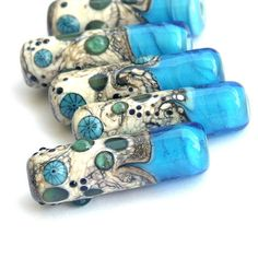 Ocean View - Lampwork Glass Bead Set in Vivid Aqua and Silvered Ivory, Tube Shapes (5)