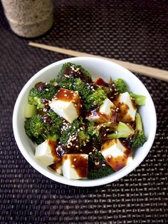 Chilled tofu and broccoli with spicy oyster sauce. #vegetarian #healthy #salad #recipe #easy #lowfat #diet #snack