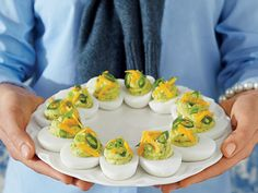 Tex-Mex Deviled Eggs | The South's iconic appetizer fuses with the nineties' obsession with Tex-Mex.
