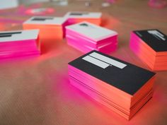 I have been obsessed with edge-painted business cards. These neon ombre cards were hand-done.