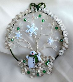Wire Wrapped Snowman Tree of Life Ornament by WrappedUpInMagic