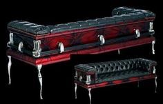 The Vampire Database - Red Black Coffin Couch - Vampire Rave.