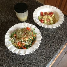 #Beachbody #UltimateReset day 6 lunch: quinoa salad and micro green salad w/ creamy garlic dressing (home made)