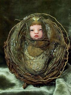 Fairy Baby on Nest Hand-sculpted OOAK Art Doll