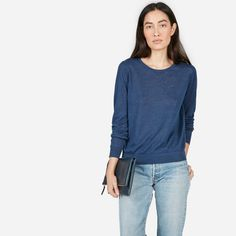 3ce8e70bfc9 The Linen Crew Sweater - Heather Indigo