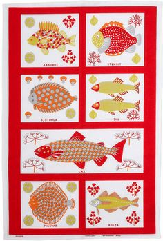 This Swedish Modern fish design tea towel looks great in any kitchen, the colors are bright and reminiscent of Almedahls retro patterns. Designed by award winning designer Brit Bredström. Scandinavian Pattern, Scandinavian Interior Design, Scandinavian Modern, Dish Towels, Tea Towels, Fabric Blinds, Fish Design, Red Fish, Couture