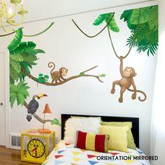 Jungle Monkey Children's' Wall Sticker Set | Etsy Monkey Bedroom, Jungle Bedroom, Kids Bedroom, Jungle Baby Room, Master Bedroom, Safari Nursery, Baby Bedroom, Nursery Art, Kids Rooms
