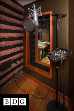 Heavenly Tracks Recording Studio, South Lake Tahoe. Isolation booth featuring acoustical log wall and Guilford of Maine fabric covering R-300 Owens Corning insulation. www.blankdg.com