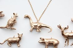 Plastic Animals Painted Gold