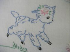 Embroidered Vintage Pillowcase Little Lambs by AbbyHareVintage