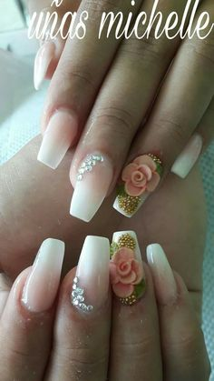 Hermosas Fabulous Nails, Perfect Nails, Gorgeous Nails, Pretty Nails, 3d Flower Nails, Rose Nails, Glam Nails, 3d Nails, 3d Nail Art