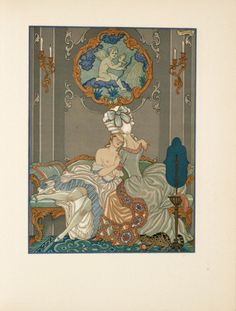 """These illustrations for a 1934 print of the classic and salacious French novel """"Les Liaisons Dangereuses"""" (""""Dangerous Liaisons"""") come from George Barbier, one the great French illustrators of the early 20th century. Although tame by today's standards, Barbier's work is lush and decadent, perfectly evoking the sexual and monetary excess of 18th century France."""