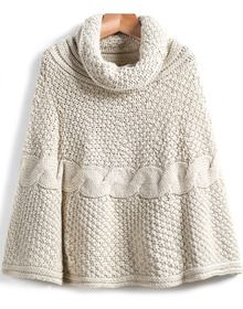 Beige High Neck Cable Knit Cape Sweater