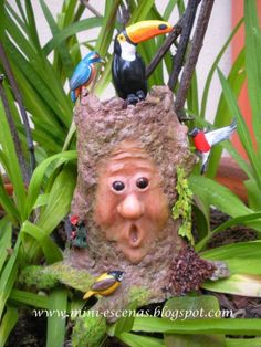 RESERVED listing for Ilse - Miniature fairy tree with birds,mini garden, terrarium or dollhouse- two times TREASURY ITEM