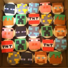 Minecraft!!! The video game became cupcakes: Enderman, Steve, Creeper, Pig, TNT, Dirt Block, Diamond Ore and Gold Ore...