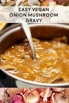 So Easy Vegan Onion Mushroom Gravy Plant-Based Recipe from Planted365.com Takes about 20 minutes and uses common ingredients! Healthy and delicious for the holidays or any meal! #veganrecipes #vegangravy #mushroomgravy #oniongravy #plantedbasedgravy