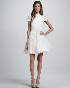 Feather-Skirt Open-Back Dress by Alice + Olivia at Neiman Marcus. Beautifully created :) White feather dress with open lace back White Feather Skirt, Feather Dress, Open Back Dresses, Short Dresses, Prom Dresses, Lace Dresses, Pretty Dresses, Wedding Dresses, Alice Olivia
