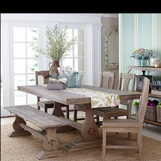 Similar to our new dining table: love the colour of the wood, but not sure if to have the legs white like the chairs, or re do the chairs too!?