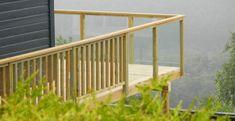 Balkongrekkverk - Lilly is Love Glass Balustrade, Garden Bridge, Backyard, Outdoor Structures, Architecture, House, Covered Porches, Railings, Decking