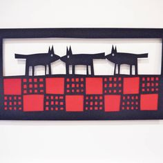 three dogs on a welsh blanket by caroline rees | notonthehighstreet.com