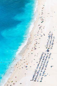 East Urban Home 'Aerial View of Myrtos Beach III, Cephalonia, Ionian Islands, Greece' Photographic Print on Wrapped Canvas Samos, Myrtos Beach, Greek Island Hopping, Aerial Images, Aerial Arts, Greece Travel, Greece Vacation, Travel Europe, Beach Scenes