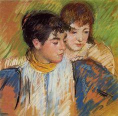 Mary Cassatt (American artist, Two Sisters Edgar Degas, Renoir, Pastel Drawing, Painting & Drawing, Figure Drawing, Mary Cassatt Art, Gouache, Pastel Portraits, Pastel Paintings