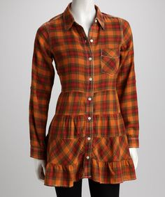 Apricot Plaid Ruffle Button-Up Tunic - Great colors for fall, just add a grey scarf or chunky necklace!