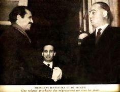Le Prince Jean de Broglie et Bouteflika Une poignée de mains entre Monsieur Bouteflika et le Prince Jean de Broglie qui annonce une relance prochaine des négociations qui aboutiront plus tard aux accords d'Evian concernant le sort de l'Algérie - See more at: http://maisondebroglie.com/jean-de-broglie-et-bouteflika/#sthash.MSbOs9Ts.dpuf