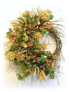 Fall Door Wreath Brown, Peach, Beige and Pumpkin with gourds By: www.sugarcreekhd.com