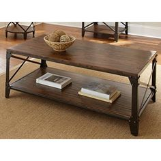 Windham Solid Birch Wood - Iron Contemporary Coffee Table Rustic - Industrial Style - Walmart.com