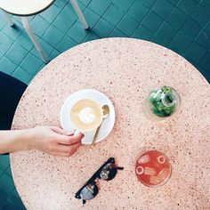 pink terrazzo table in paris from @thelovelydrawer
