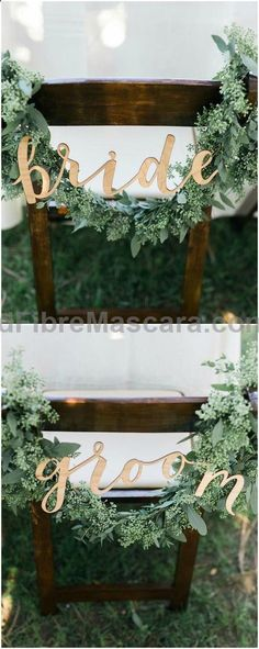 Greenery Wedding Ideas That Are Actually Gorgeous---greenery wedding chair for brides and grooms, gold and green wedding color palettes, woodland wedding ideas for spring or fall wedding chairs Greenery Wedding Ideas That Are Actually Gorgeous Wedding Wishes, Wedding Signs, Boho Wedding, Rustic Wedding, Wedding Flowers, Dream Wedding, Wedding Day, Woodland Wedding, Trendy Wedding