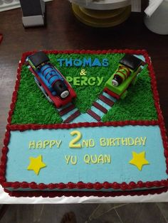 Thomas and Percy! Trains in fondant but the rest of the cake is in buttercream! Yum!