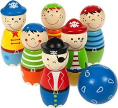 Pirate Skittles £7.99    Ahoy me hearties!  Six wooden skittles and a brightly coloured ball, ensuring that scurvy dogs of 3years + can enjoy plenty of fun with family and friends!    http://www.whositfor.co.uk/store/product/41392/Pirate-Skittles