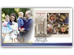 Celebrating 100 Years of the House of Windsor. Full Windsor Castle, St George's Chapel miniature sheet cover featuring The Cambridge's on the design. Special 100 Years of the House of Windsor, Windsor postmark (15th February, 2017)
