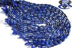 Lapis Lazuli Smooth Cut Brick (Long) (Quality B) Shape: Brick Cut Length: 36 cm Weight Approx: 21 to 23 Grms. Size Approx: 5x13 to 6x14 mm Price $3.60 Each Strand